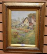 Thomas Phillips(fl.1886-1913) A Garden in Spring watercolour laid on board, 33.5 x 24cm signer