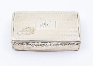 A William IV silver snuff box, reeded sides with foliate thumbpiece, engine turned decoration, the