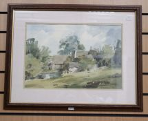 J Fletcher Watson, print of a watercolour, framed in wooden carved frame with gilded inner edge