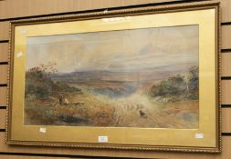 A 19th Century watercolour by Fennie of a countryside scene with a farmer taking cattle down the