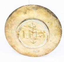 A Continental silver gilt paten, engraved IHS to central section, stamped, maker's mark FF, 14 cm