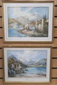 Two 19th Century watercolours by C Hardy, Continental scenes by lake, 26 x 37 cms approx
