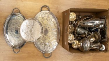 A collection of silver plated items including trays, condiments, tankards, trophy, cocktail