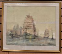 In the manner of John Christian Schetky (1778-1874) Harbour Scene with Tall ships and tug boats