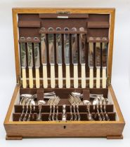 A 1940's William Hutton of Sheffield six piece plated canteen of cutlery in oak Art Deco box