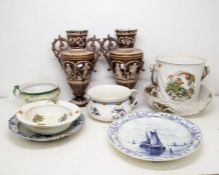 """A collection of ceramics to include: a Royal Bonn """"Delft"""" charger painted with boats and"""