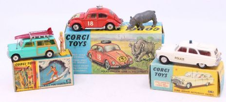 Corgi: A collection of three boxed Corgi Toys vehicles to comprise: Ford Zephyr Motorway Patrol,