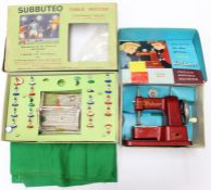 Vulcan: A boxed Vulcan Senior Child's Sewing Machine; together with a boxed Subbuteo Table Soccer