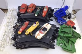 Scalextric: unboxed track, cars, controllers to include Lotus, Mini, Alpine Renault etc. Along