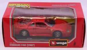 Bburago: A boxed Bburago Ferrari F40, 1987, Ref 1532, red, original box.