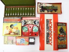 Collectables: A collection of assorted vintage toys to include: Ubilda locomotive, Monopoly,