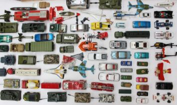 Diecast: A collection of assorted playworn diecast vehicles to include: Dinky, Corgi, Matchbox and