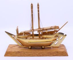 A bronze Canadian parliament boat presented to Baroness Boothroyd Provenance Property of Baroness