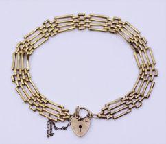 A 9ct gold padlock bracelet