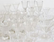 A large collection of 1930s French Baccarat style art deco glasses, some shown in photo.