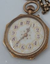 A 14ct Swiss gold watch, octagonal on yellow metal gold chain