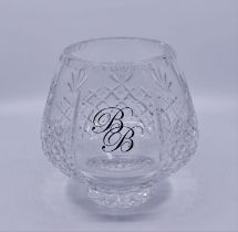 A crystal rose bowl, with BB gilt monograme Prvenance Baroness Betty Boothroyd