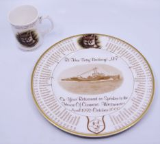 A porcelain plate Commemorating Betty Boothroyd retirement from the First Destoryer Flotilla