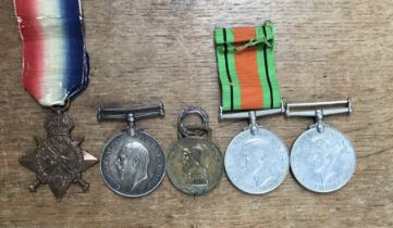 A group of 5 medals from WW1 & WW2, includes interesting two British WW1 medals of a Aug-Nov 1914