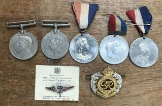 Medals and badges, includes British WW2 war and defence medals, GQ Parachute Company badge on