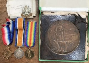 WW1 British medal group of 1914-15 Star, 1914-1918 War Medal, Victory Medal & death plaque to3562