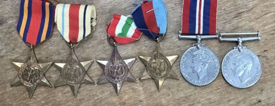 WW2 British Medal Group of Burma Star, Africa Star, Italy Star, 1939-1945 star, 1939-45 medal and