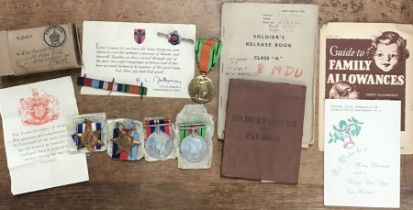 WW1 & WW2 medals! Soldiers Pay & Release book, silver Royal Engineers pin badgewith other items.