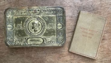 WW1 1914 Christmas tin with 'Active Service' testament 1914-1915.