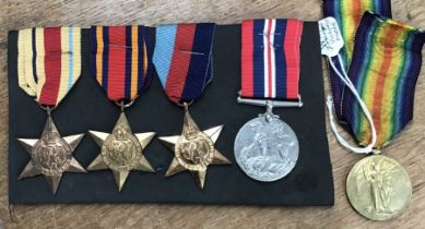 WW1 and WW2 British Medals, WW1 Victory Medal to 493934 Pte H. Field of the 13 Lond R. WW2 group