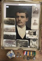 WW1 British medal group with oil on board painting of R. Armstrong and postcards showing him in