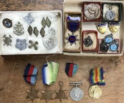 WW1 & WW2 British Medals, Boys Brigade badges with some sporting medals from 1940's and 50's. WW1