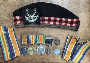 WW1 & WW2 British Medal Group of War medal, Victory & WW2 Defence medalto3721 Pte R Townsend of