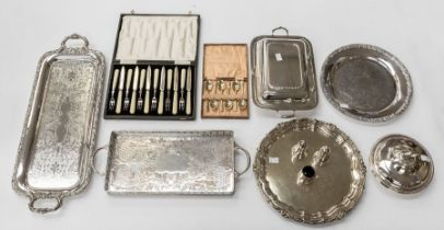 A group of early 20th Century silver plate, EP and EPNS to include: Muffin dish and cover; three