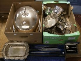 Two boxes of silver plate, EPNS to include: large domed meat cover; two unusual cut glass and