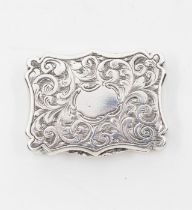 Nathaniel Mills: A Victorian silver cartouche shaped viniagrette, the entire profusely engraved with
