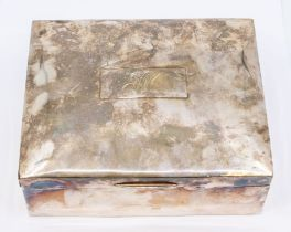 An early 20th Century plain silver large jewellery box (cigar box), the bombe cover engraved with