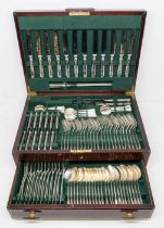 An Art Deco style twelve piece silver flatware service, all pieces engraved with initials,
