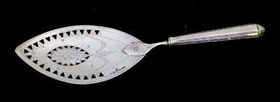 A George III silver oval bright cut engraved fish slice, the blade hallmarked by Samuel