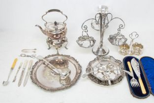A collection of silver plate and EPNS to include: Edwardian style epergne with central dish and