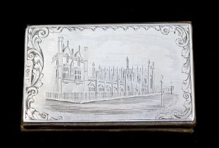 Nathaniel Mills: A Victorian silver rectangular calling card holder/case, the cover engraved with
