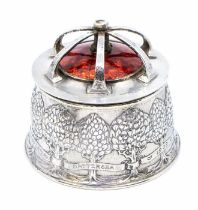 Omar Ramsden and Alwyn C E Carr:  An Arts & Crafts silver and enamel bowl and cover, the