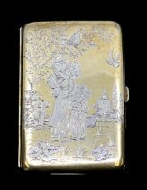 A Victorian silver and parcel gilt card case, the cover and back with engraved decoration after Kate
