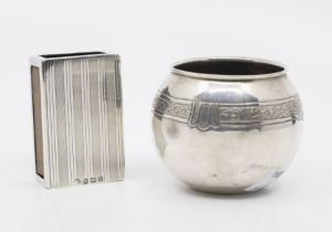 A George V silver engraved match box holder, striated pattern, hallmarked by Adie Brothers,