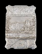 A Victorian silver Castle Top card case, the front chased and engraved depicting Warwick Castle with