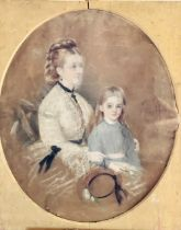 C Luntley portrait of a mother and her daughter, h