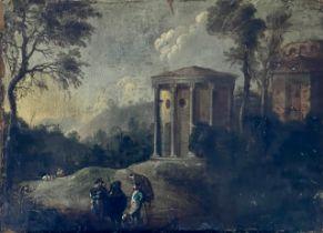 Italian School, 18th century, a landscape with tra