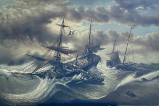 By T Slowsky (20th century), Rescue at sea, oil on
