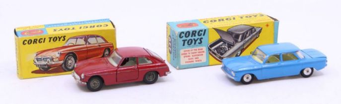 Corgi: A boxed Corgi Toys, MGB GT, 327, together with a boxed Chevrolet Corvair, 229, one inner