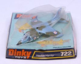 Dinky: A Dinky Toys Hawker Harrier, 722, contained within bubble packaging, some crushing to