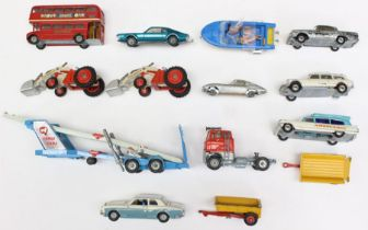 Corgi: A collection of assorted unboxed, playworn, diecast Corgi vehicles, varying condition. (one